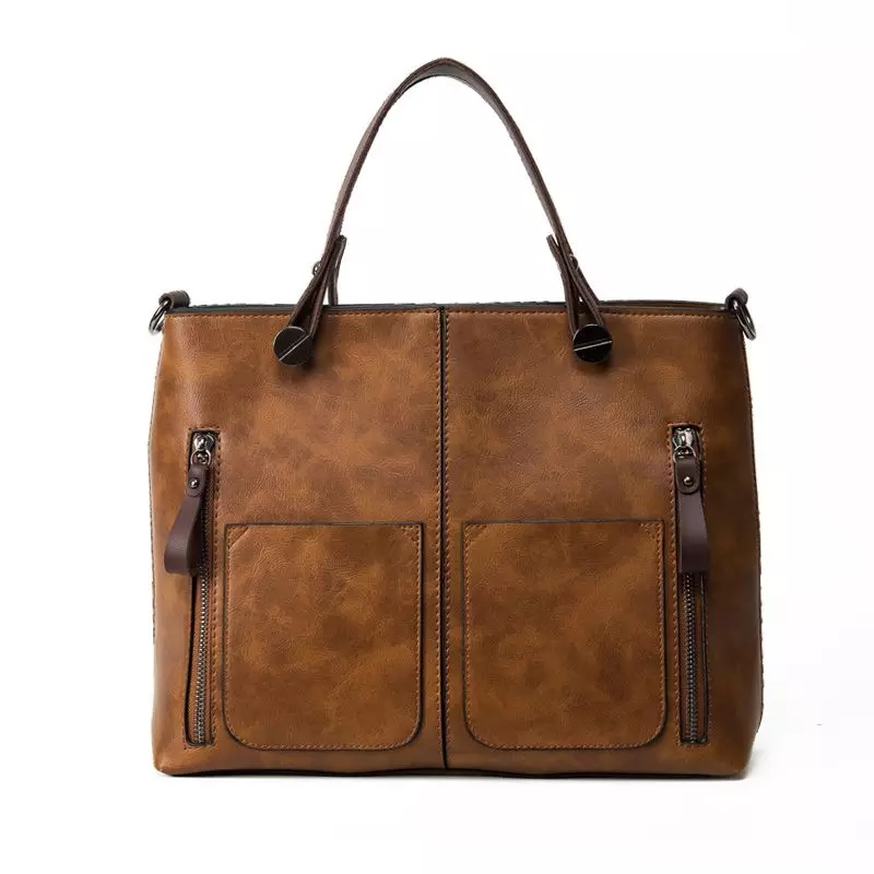 Vintage PU Shoulder Bag Female Causal Totes Large Women Leather Handbags Daily Shopping High Quality Designer sac bolsa N8991