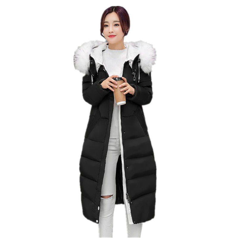 2016New Women Winter Long Jacket Coat Korean Thick FurCollar Hooded Down Parkas Ladies Plus Size Slim Warm Cotton Overcoat Black