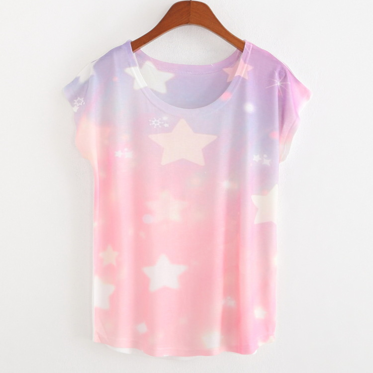 fb2758f191b 2018 Promotions T shirt Women fashion Pink star print short sleeve casual women  t shirt loose shirts summer Thin style Tees tops-in T-Shirts from Women s  ...