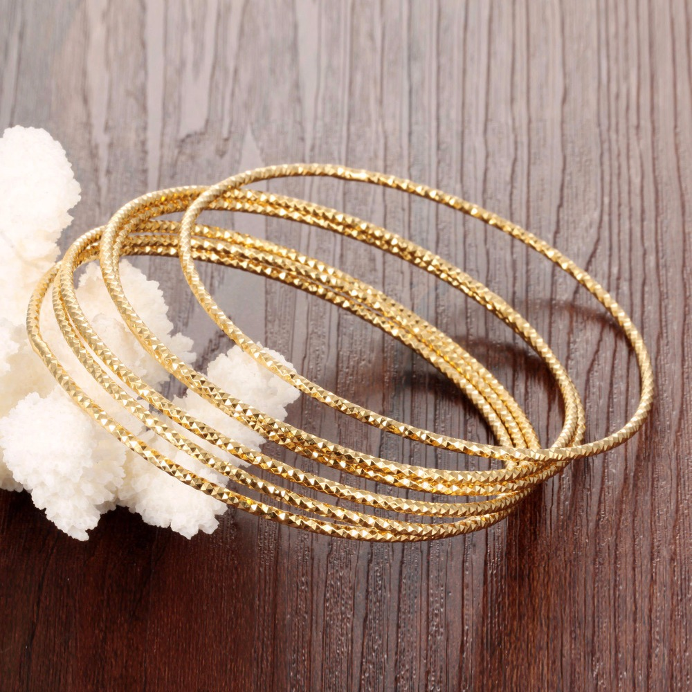 pc bangle dubai fashion thin women luxury bracelet gold caved womens jewelry s gift product bangles