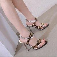 2019 Summer new style Rivets peep toe High Heels Women Shoes Sandals Black snakeskin Spell Color Buckle High heeled Sandals