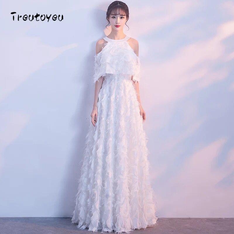 Treutoyeu 2018 Long Dress Women Clothes Winter Solid White Dresses Fashion Party Evening Halter Floor Length Dresses D048