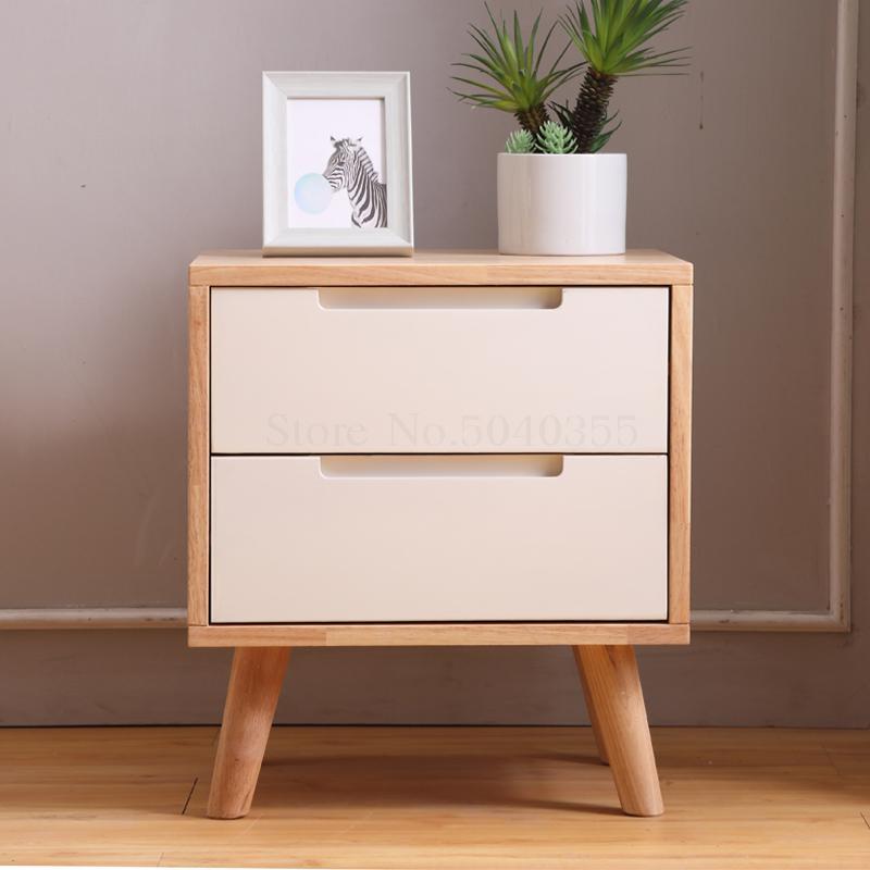 Small Apartment Solid Wood Bedside Table Nordic Minimalist Bedside Cabinet Bedroom Mini Locker Living Room Storage Cabinet