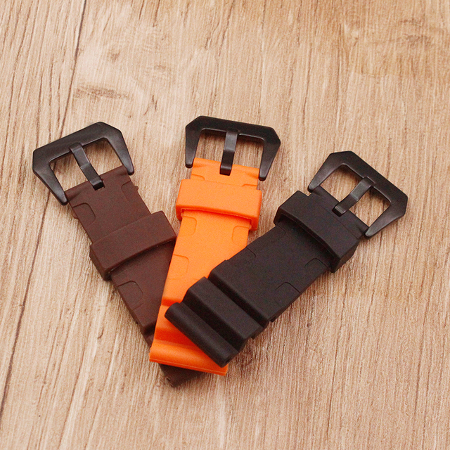 Watch accessories sweat-absorbent silicone strap for Panerai 1950 series PAM00616 00682 waterproof rubber 24mm men's watch belt 3