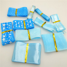 10Yards/pack Lots Styles blue Mix 10-40MM Width Printed Organza Ribbons Wedding Christmas Decorations DIY Accessories G0142
