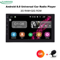 Funrover Android8 0 Auto Radio Quad Core 7Inch 2DIN Universal Car NO DVD Player GPS Stereo