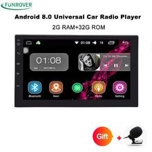 Funrover Android8.0 авто радио 4 ядра 7 дюймов 2DIN Универсальный Автомобильный нет dvd-плеер gps стерео аудио головное устройство Поддержка один din тире