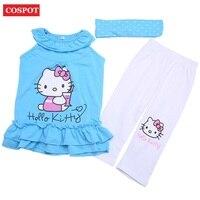 COSPOT Baby Girls Summer Suits Girl's Headband+Dress+Pants Cotton Clothing 3pcs Sets Girl Summer Suit 2-8Yrs 2017 New Arrive 10D