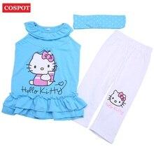 COSPOT Baby Girls Hello Kitty Clothing Set Girl's Headband+Dress+Pants Cotton Clothing 3pcs Set Girl Summer Sets 2-8Yrs 2018 10D