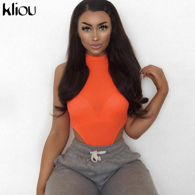 Kliou women slim sexy bodysuit skinny turtleneck sleeveless jumpsuits solid orange yellow black off shoulder 2019 summer rompers