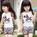 New Summer 2017 Girls Boys Fashion Sleeveless Zebra T-shirt+Shorts Children Clothing Set Sport Suit Kids 2Pcs Girls Clothes Sets