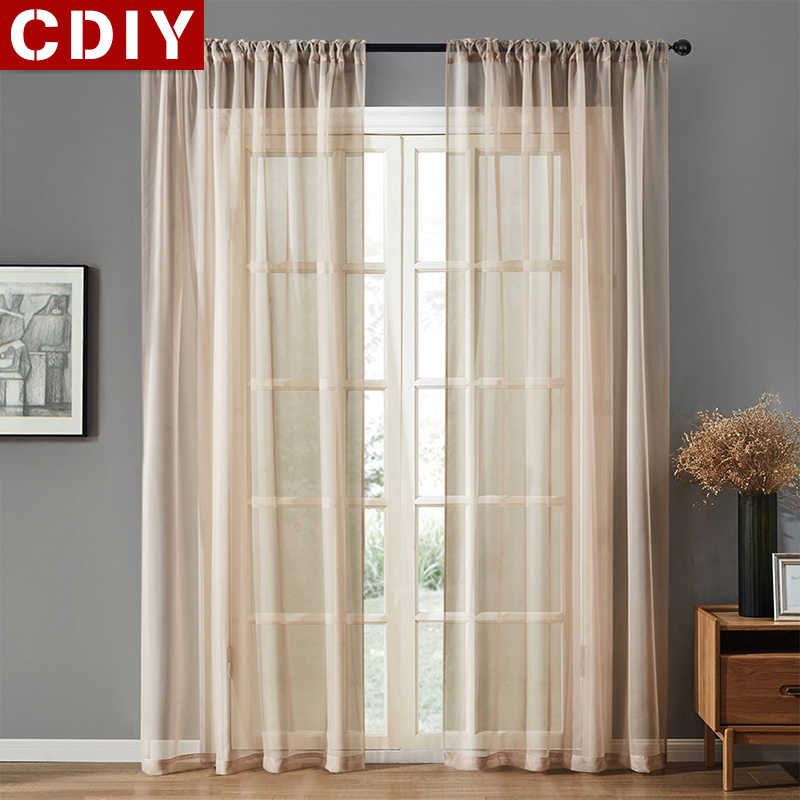 CDIY Solid Tulle Curtains For Living Room Bedroom Kitchen Modern Sheer Curtains Voile Curtain Window Screening Drapes Costom