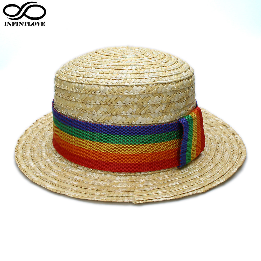 Fashion Lady Boater Sun Caps Ribbon Round Flat Top Straw Beach Hat Bowknot Beach Sunscreen Straw Hat