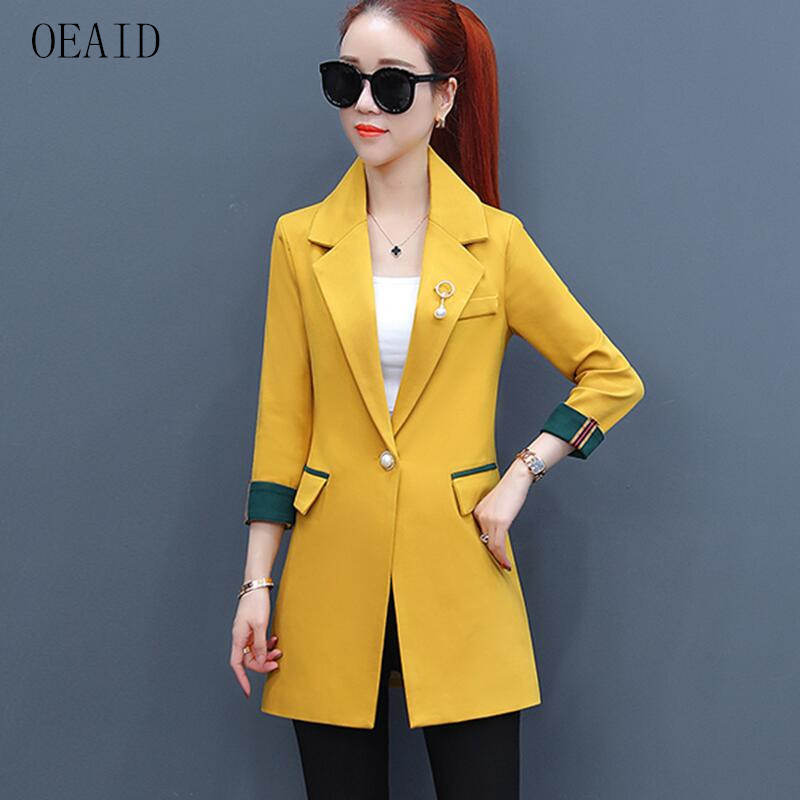 OEAID Suit Women Blazers New 2018 Fashion Blazer Women Clothing Spring And Autumn Female Outerwear Long Slim Womens Suits Black