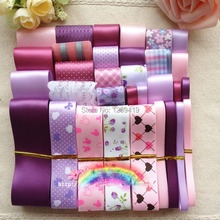 32 YDS Elegant mixed Pink Purple Ribbons DIY hairpin bowknot hair accessories material grosgrain / satin printed ribbon set