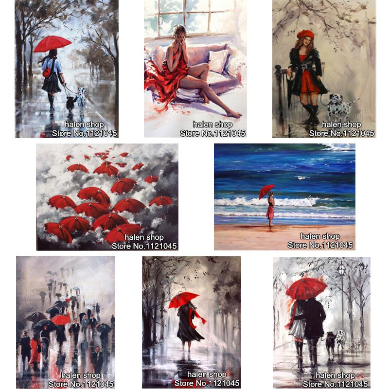 DIY Diamond Painting Cross Stitch Wall Sticker Diamond Embroidery Square Diamond Mosaic Pictures Crafts umbrellas beauty  GT379 beautiful ocean