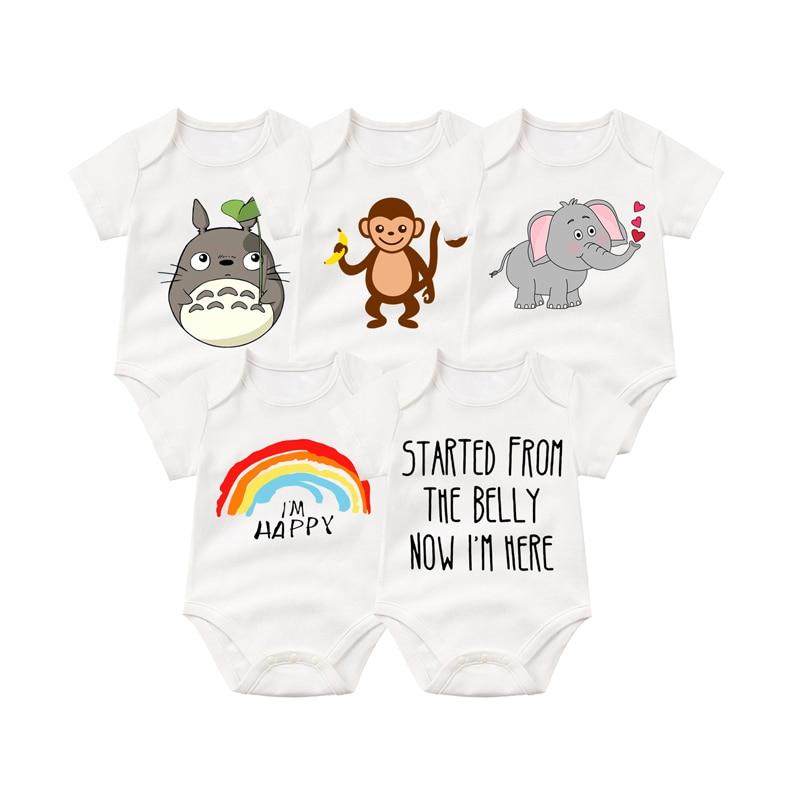 5PCS/LOT Unisex summer Baby Rompers Short Sleeve Cottom O-Neck Novel Newborn Boys&Girls Roupas de bebe Baby Clothes