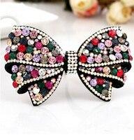 Lujo checa diamante horquilla top moda bowknot accesorios para el cabello 4 colores