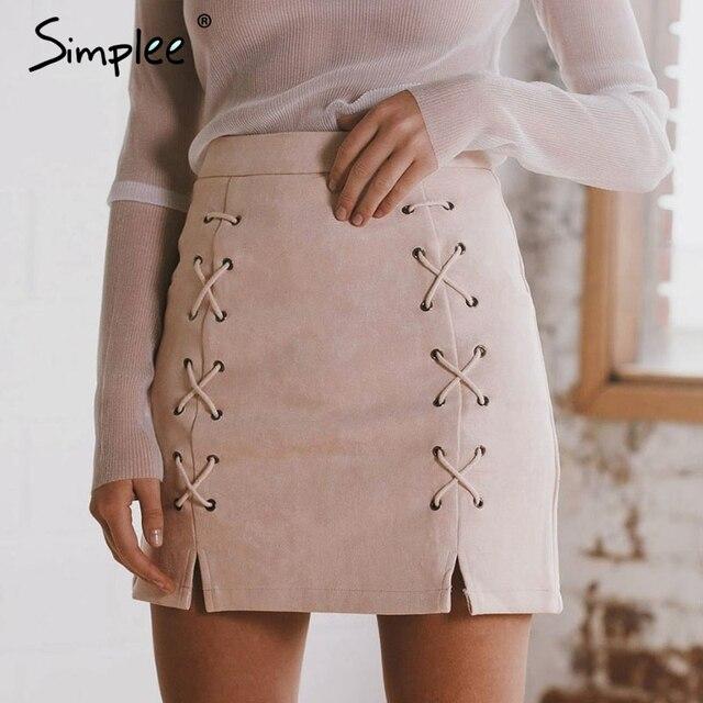 Simplee Automne lacets en cuir daim crayon jupe Hiver 2017 croix jupe taille haute Fermeture À Glissière fendue moulante jupes courtes femme