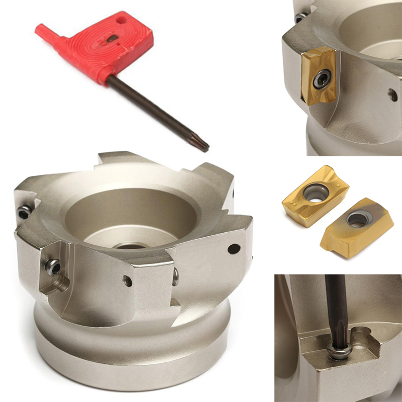 1pc HSS 6 Flutes Face End Mill Cutter BAP 400R-80-27-6F + 10pcs APMT1604PDER Inserts mitsubishi 100% mds r v1 80 mds r v1 80