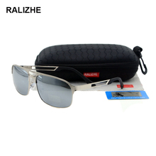 RALIZHE Brand High Quality Men Polarized Alloy Retro Sunglasses Vintage HD TAC Lens UV400 Silver Mirror Designer Sun Glasses