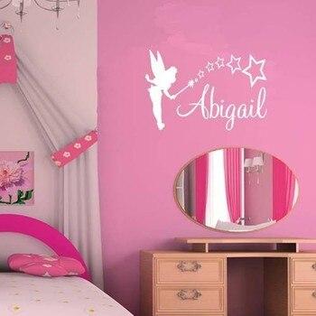 engels custom muur post tinker bell engels naam kinderen slaapkamer zitkamer versiering muur stok customization