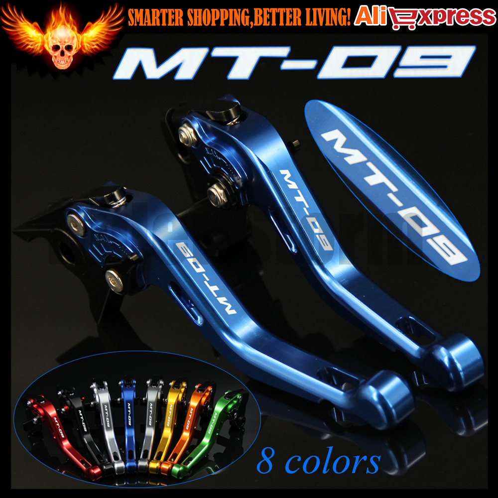 ФОТО Laser Logo(MT-09) 8 Colors New CNC Aluminum Blue Motorcycle Short Brake Clutch Levers For Yamaha FJ-09/MT-09 Tracer 2015 2016