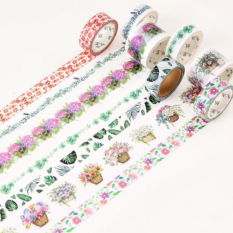 Beautiful Flowers Green Plants Washi Tape Adhesive Tape DIY Scrapbooking Sticker Label Masking Tape