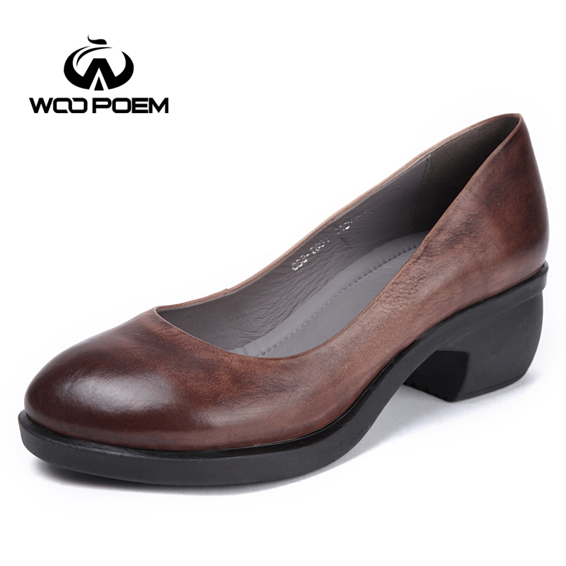 WooPoem Brand 2018 New Shoes Woman Genuine Leather Pumps Retro Style Shallow Pumps Classic Wedges High Heels Women Shoes 668 the new puma womens shoes classic high classic star high tongue series white leather laser badminton shoes