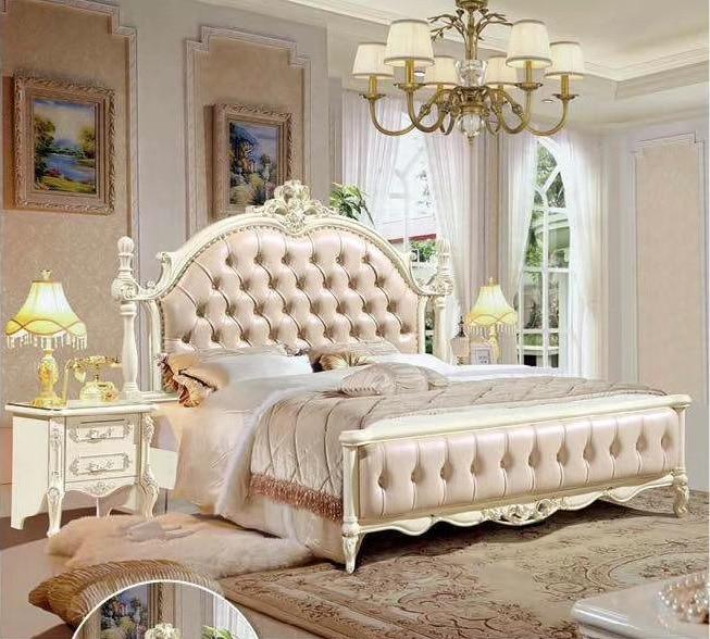 Moderna cama europea de madera maciza tallada a la moda 1,8 m muebles franceses de dormitorio DCXC916