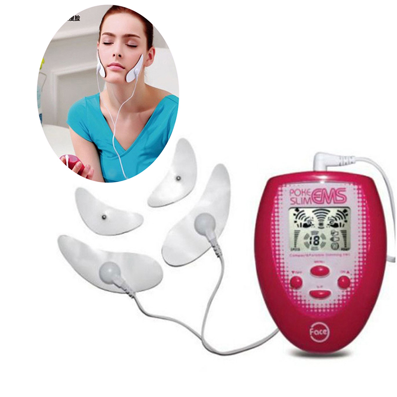 Electric Facial Massage Electronic Muscle Stimulation + 2pcs Electrode Face Sticker +2 Cheek Sticker Face Massager Tool New