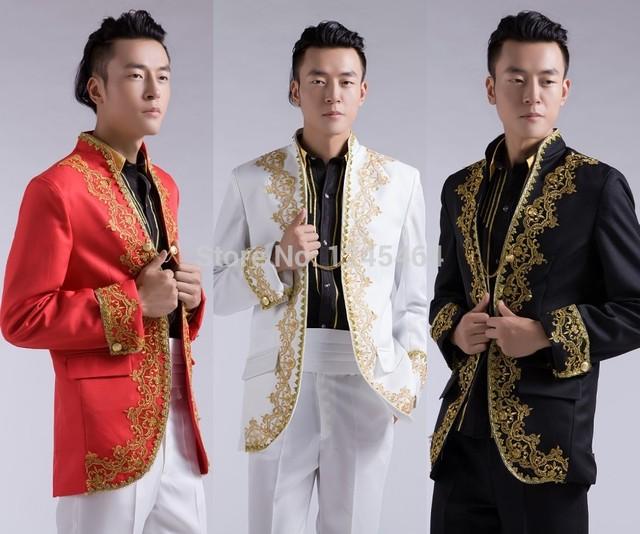 Envío gratis negro blanco rojo colores de la boda trajes esmoquin novio apliques bordados trajes de chaqueta de Traje traje de los hombres de oro + pants2014
