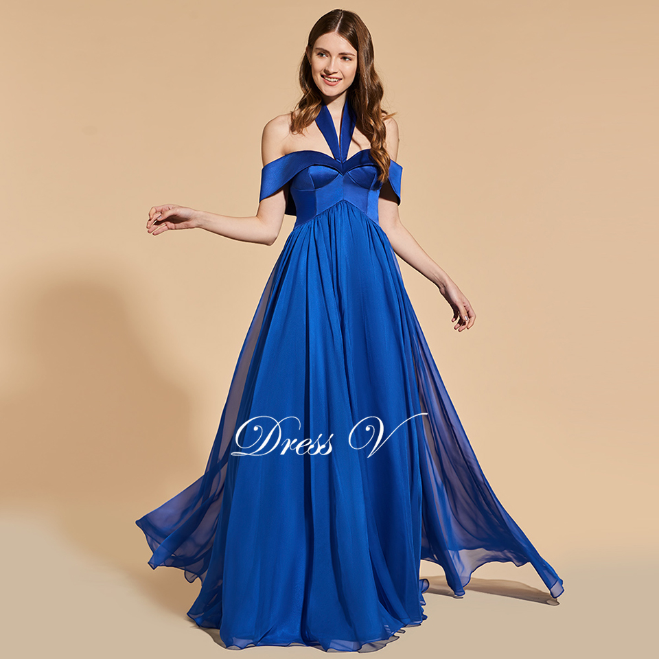 Dressv dark royal blue elegant long prom dress halter sleeveless a ...