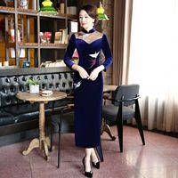 New Arrival Women's Embroidery Long Cheongsam Fashion Chinese Velour Dress Qipao Vestidos Plus Size S M L XL XXL XXXL 4XL 14889