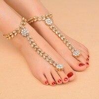 New Arrivals 2017 Fashion Crystal Flower Anklet Bracelet Handmade Beach Foot Chain Sandals Statement Jewelry