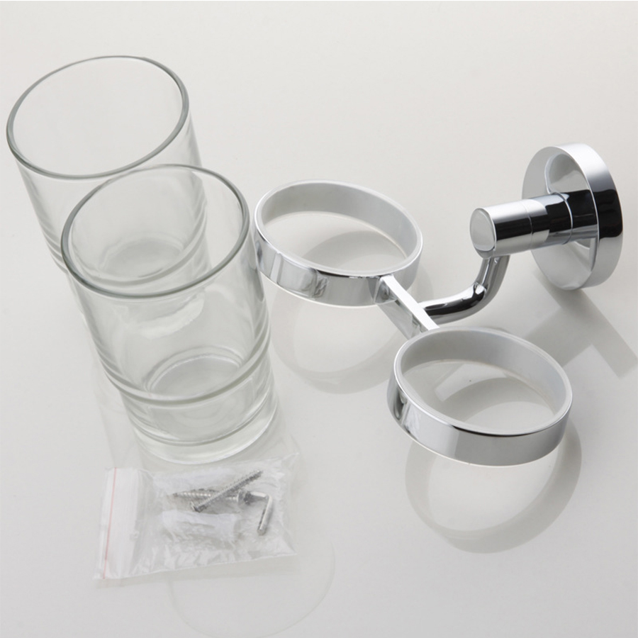 HUICI Embedded Chrome Double Cup Holder Pastoral Glass Cups Bathroom ...