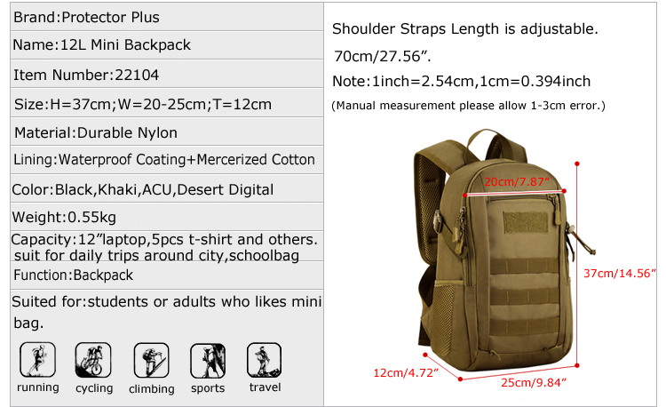 HTB15XFMXbsTMeJjSszhq6AGCFXaN - Protector Plus 12L Tactical Small Backpack,Molle Waterproof Mini Military Backpack,Outdoor Sport Travel Rucksack bags for kids