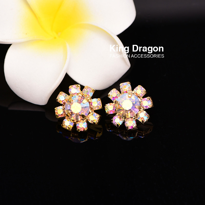 Rhinestone AB Button Sew On Flower Center 15MM 100pcs/lot Shank Back Silver Color Or Gold Color