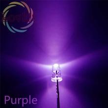 100 шт 3 мм круглый верх фиолетовый светодиодный 3 мм ультраяркие светодиоды лампы светоизлучающие диоды высококачественные компоненты розничная оптом