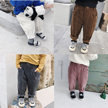 Autumn Winter boys girls cotton corduroy casual pants 2018 kids all match spliced solid color loose pants children trousers