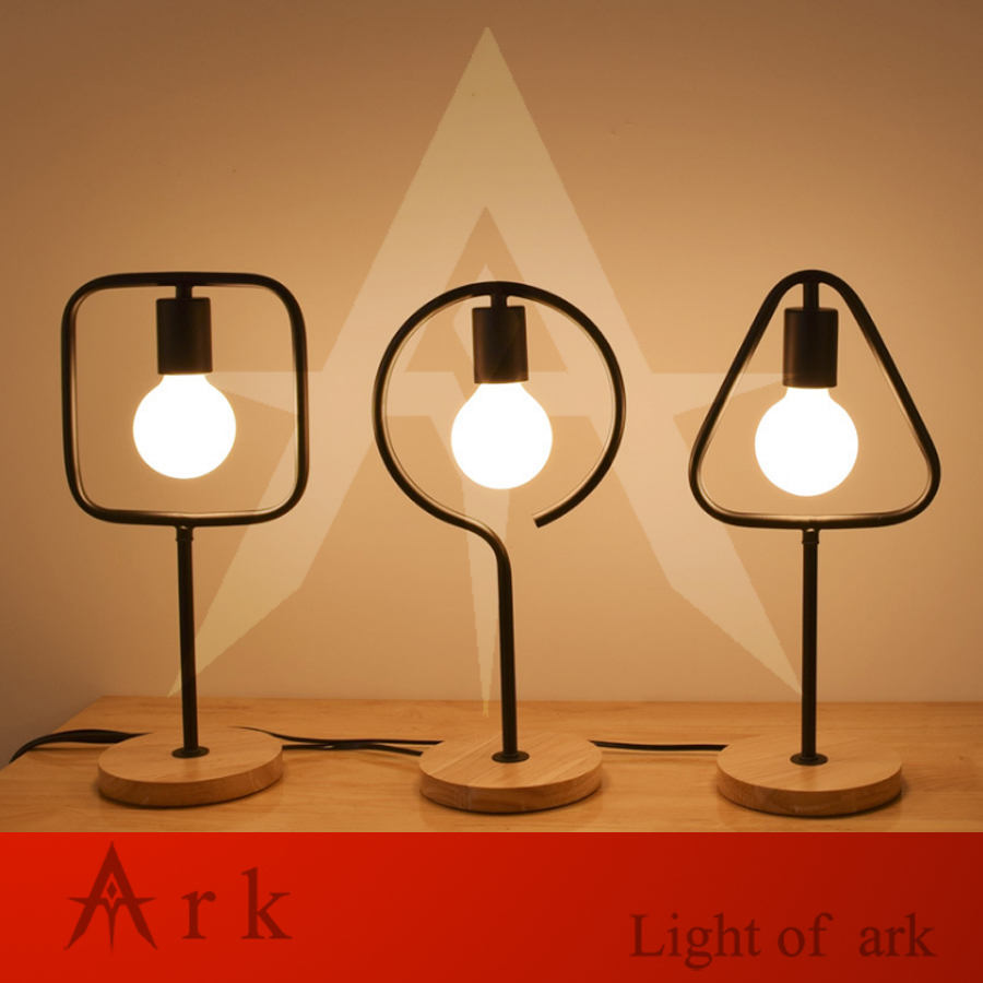 Creative Nordic simple modern LED wooden desk Decoration iron table lamp bedroom bedside-no bulb Creative Nordic simple modern LED wooden desk Decoration iron table lamp bedroom bedside-no bulb