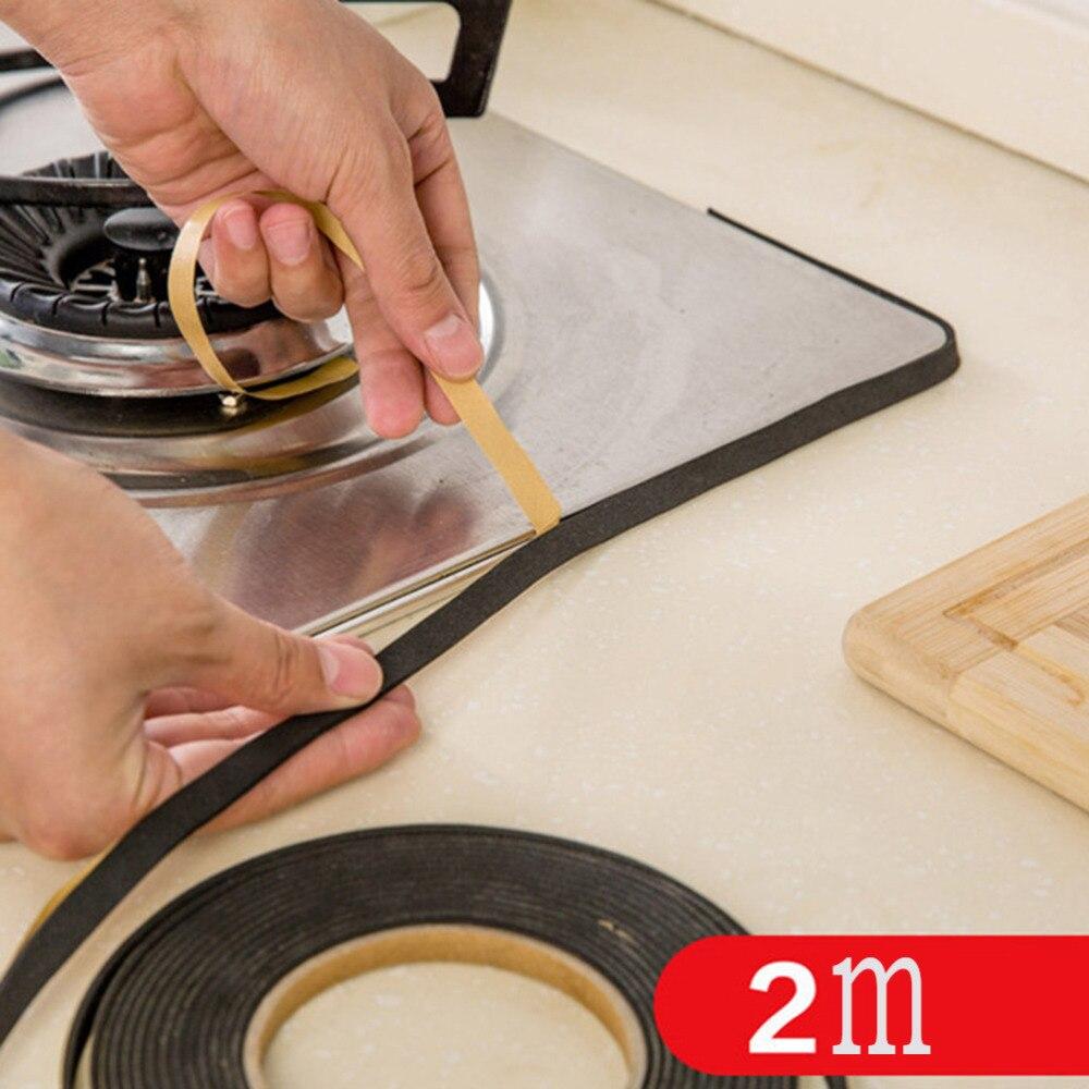 2M Black Self-adhesive Gas Stove Slit Strip Antifouling Dustproof Waterproof Seal Kitchen Door Window Sealing Strip