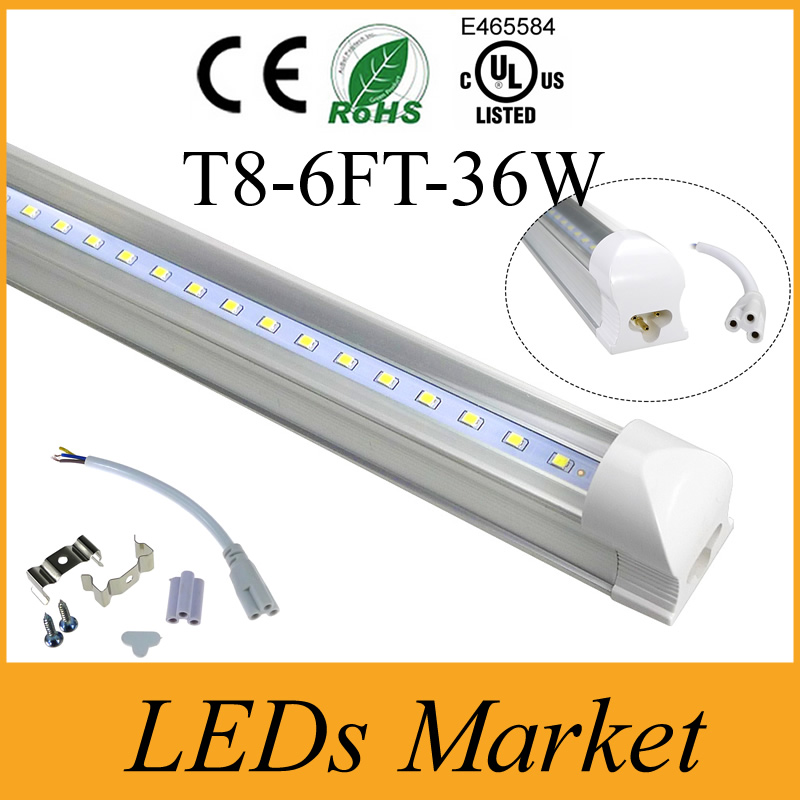 High Bright 6ft T8 Led S Light 36w Integrated Fluorescent Lamp With Mounting Accessories Ac110 240v Ul Ce In Bulbs From
