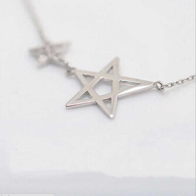 Minimalist 925 Sterling Silver Popular Jewelry Exquisite Star Micro Crystal Five-pointed Star Female Pendant Necklace  H149