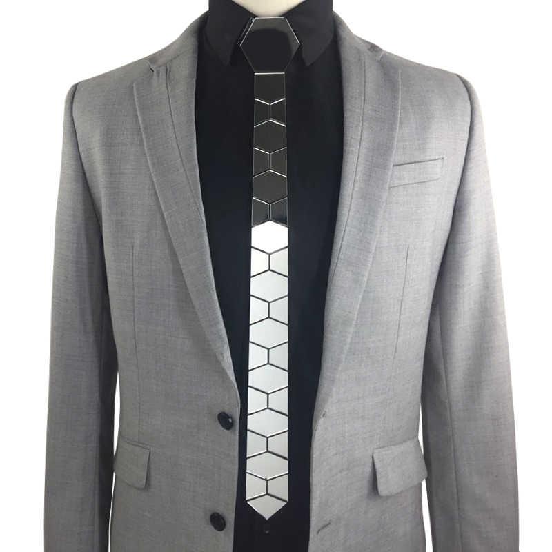 GEOMETIE Handmade Skinny Hexagonal Silver Tie Honeycomb รูปร่างเนคไทสำหรับผู้ชายงานแต่งงานแฟชั่นอุปกรณ์เสริมแฟชั่นเครื่องประดับ