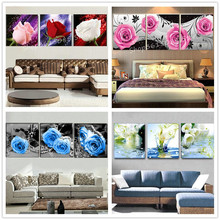 3 pieces 1 set of diamond painting flowers, pink, red rose, daffodil 3d square mosaic embroidery living room decoration