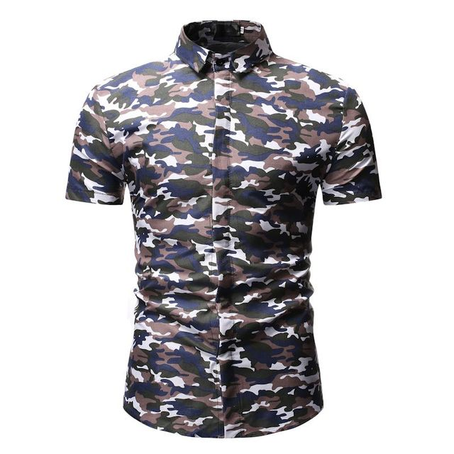 a031dc6d Hawaiian Shirt 2019 Summer New Short Sleeve Men Shirt Fashion Military Camouflage  Casual Mens Camisa Masculina Comfortable Shirt