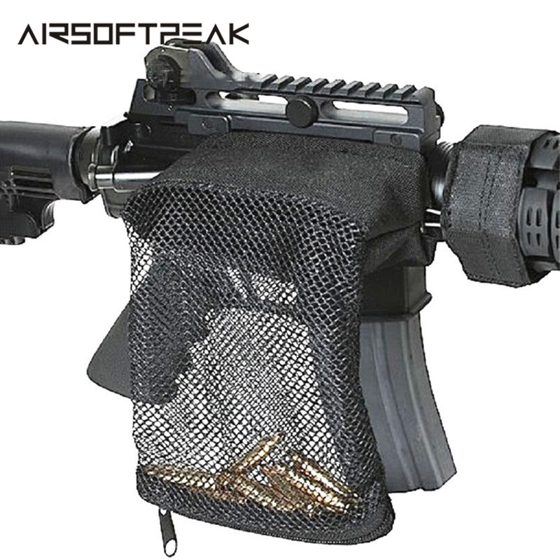 Tactical Rifle Ammo Brass Shell Catcher Military Gear Holder Mesh Trap Nylon Mesh Zipper Bag Bullet Pack Hunting Gun Accessories