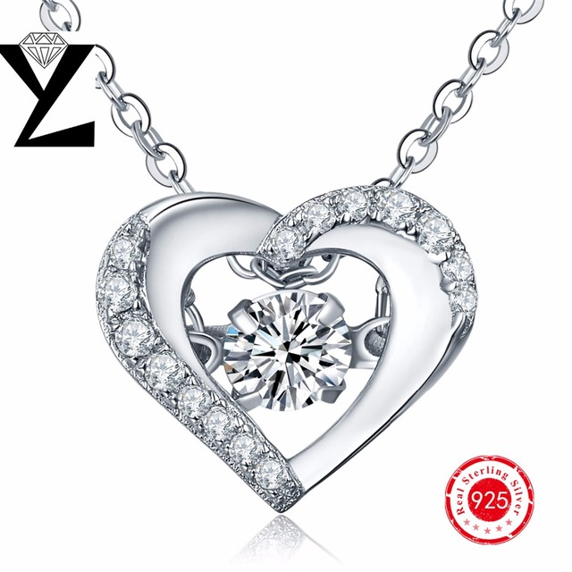 Heart Love Necklace 925 Sterling Silver Pendant Jewelry for Women Sterling-Silver 925 with Dancing Cubic Zirconia Pendant Silver