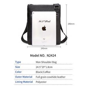 Image 3 - BISON DENIM Brand Genuine Leather Crossbody Bag Men Slim Male Shoulder Bag Business Travel iPad Bag Men Messenger Bags N2424